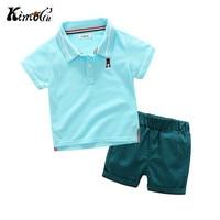 Kimocat High Quality Children Clothing Summer Cotton Lapel Sport Boy Polo Shirt Suit 3 Color 3
