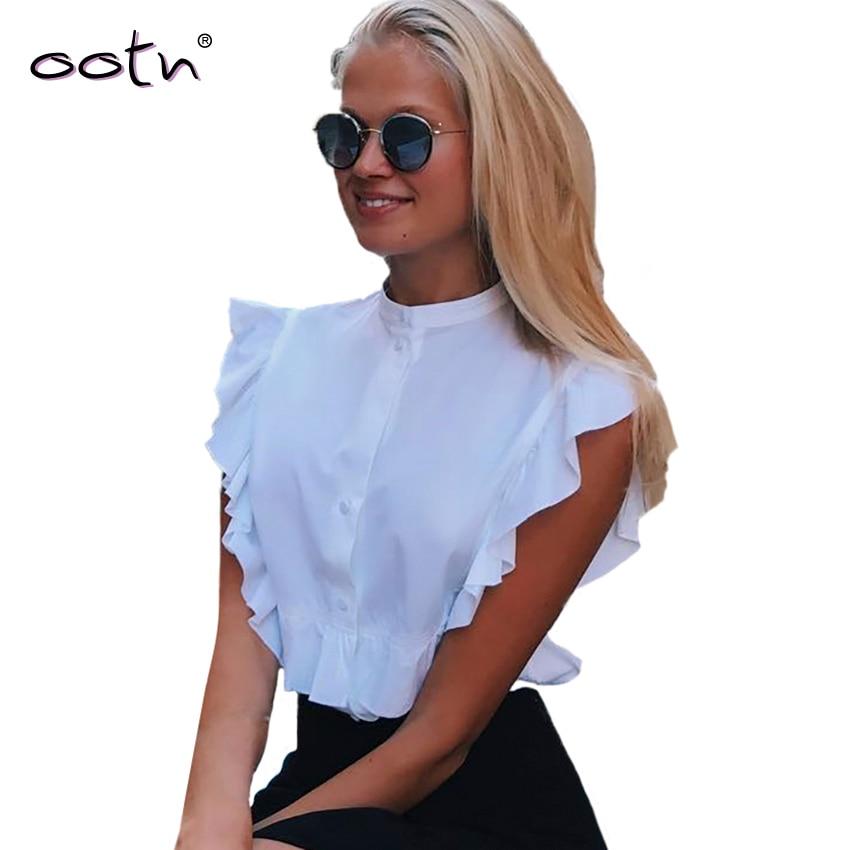 OOTN 2019 Summer Sleeveless White Tunic Blouses Women Ruffled Crop Tops Female Short Shirts Ladies Office Chemise Femme Fashion