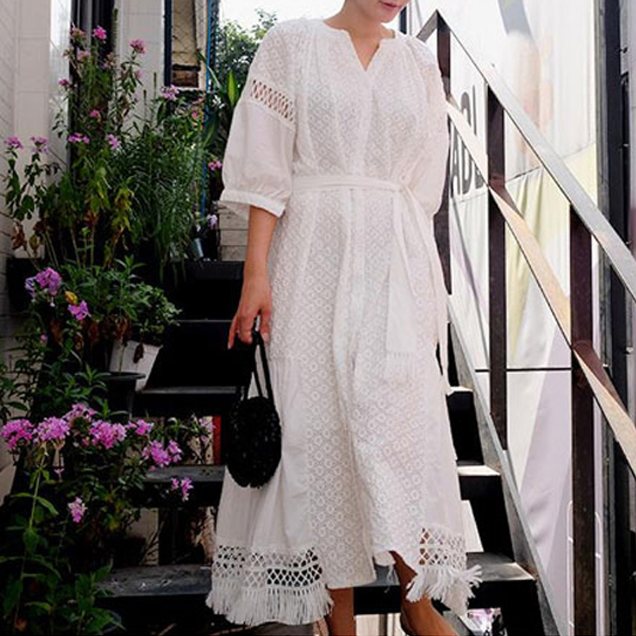לבנה כותנה רקמת תחרה boho מקרית שמלות שרוול פנס בציר שמלת 2017 ניו סתיו loose מותג ארוך נשים שמלה