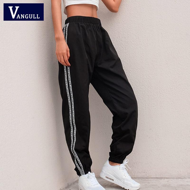 Vangull Side Stripe Letter Sweatpants Women 2019 Spring Autumn Stretch High Waist Streetwear Cargo Jogger Harem Pants