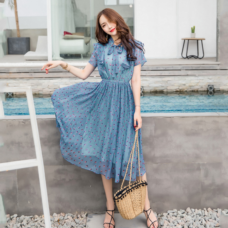 Pengpious summer chiffon women dress printing large hem high waist elegant women dress