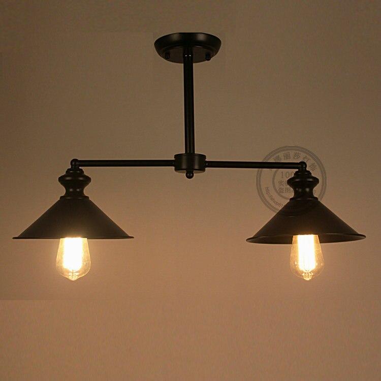 Ретро промышл черный подвесные светильники 2 головки ресторан спальня ретро половины лампа исследование craft warm Гостиная Подвесные светильн...