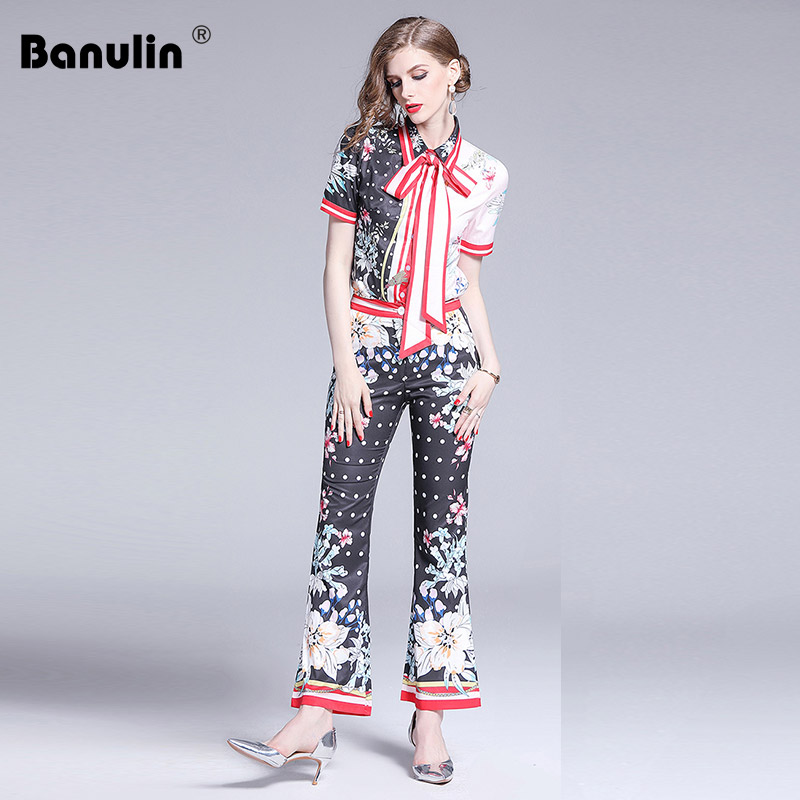 dfbf4c685c0f3 Banulin 2019 Runway Designer Two Piece Set Women Short Sleeve Dot ...