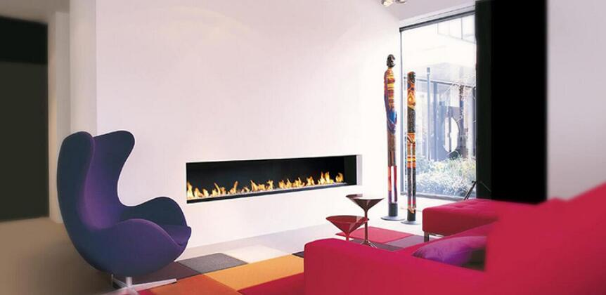 36 Inch Silver Or Black Real Fire RS485  RS232 Dry Contact Intelligent Smart Bioethanol Fireplace Insert