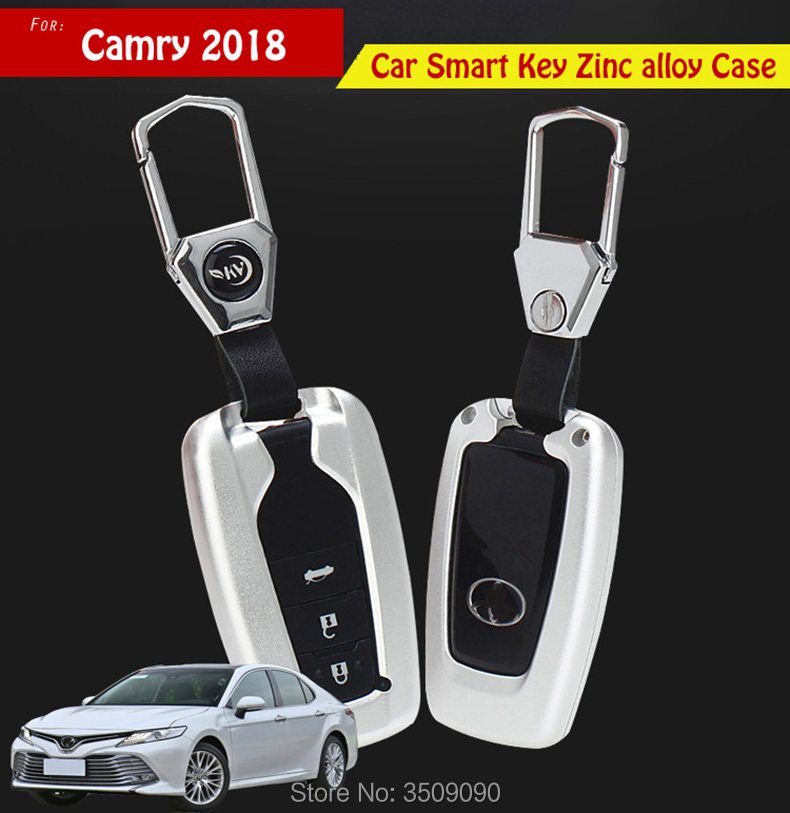 For Toyota Camry 2018 Car Styling Car Smart Key Case Key Shell Wallet Protective Cover Zinc alloy Car styling for mazda cx 5 cx5 2017 2018 kf 2nd gen car smart key case key shell wallet protective cover zinc alloy car styling