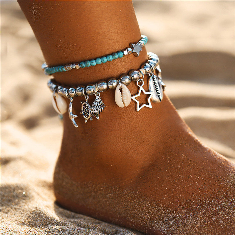 IF ME Bohemian Multiple Layers Starfish Turtle Beads Anklets For Women Vintage Boho Shell Chain Anklet Bracelet Beach Jewelry 3