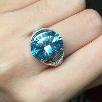 Натуральный голубой топаз Gem Кольцо природных драгоценных камней кольцо стерлингового серебра 925 Модный Роскошный Большой Круглый Женщины