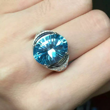 Natural blue topaz gem Ring Natural gemstone ring 925 sterling silver trendy Luxury big large round women girl party Jewelry