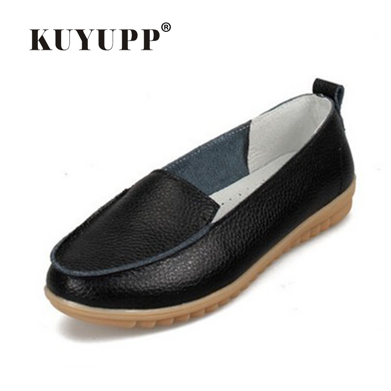 цена KUYUPP Women Flats Shoes Slip-on Comfort Boat Shoes Mother Flat Shoes Cow leather girl shoes Moccasins Loafers size 35-41 YDT05 онлайн в 2017 году