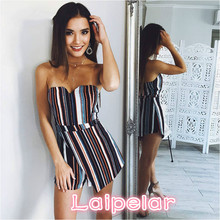 Laipelar New Womens Striped Romper Bohemia Short Jumpsuit 2018 Fashion Summer Sexy Off Shoulder Playsuit Girls Elegant