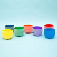 Chakra Set Of 7 Colored Frosted Crystal Singing Bowls All 8 Inch