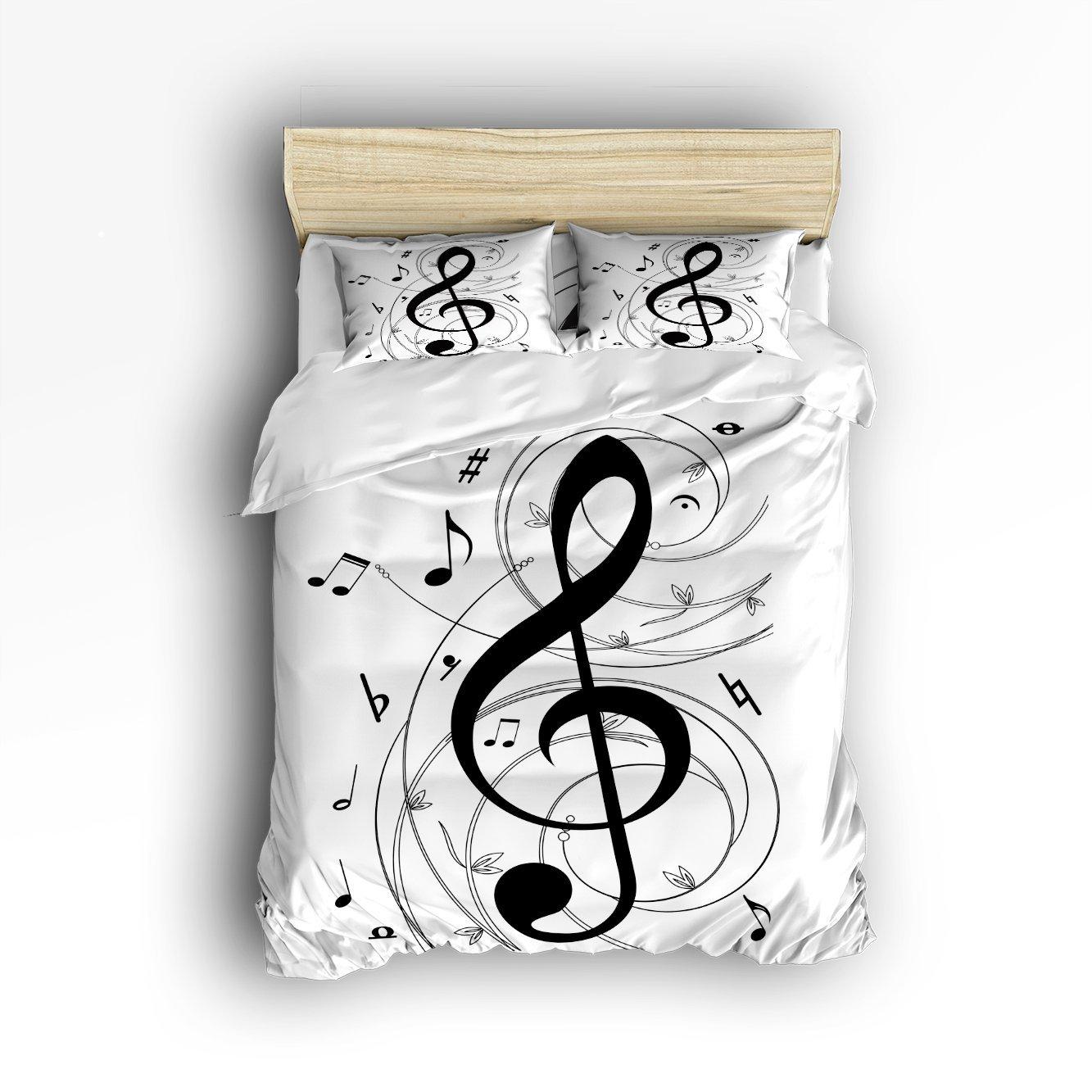 King Размеры Постельное белье черный, белый цвет ноты постельное белье покрывало для детей/подростков/взрослых 4 шт.