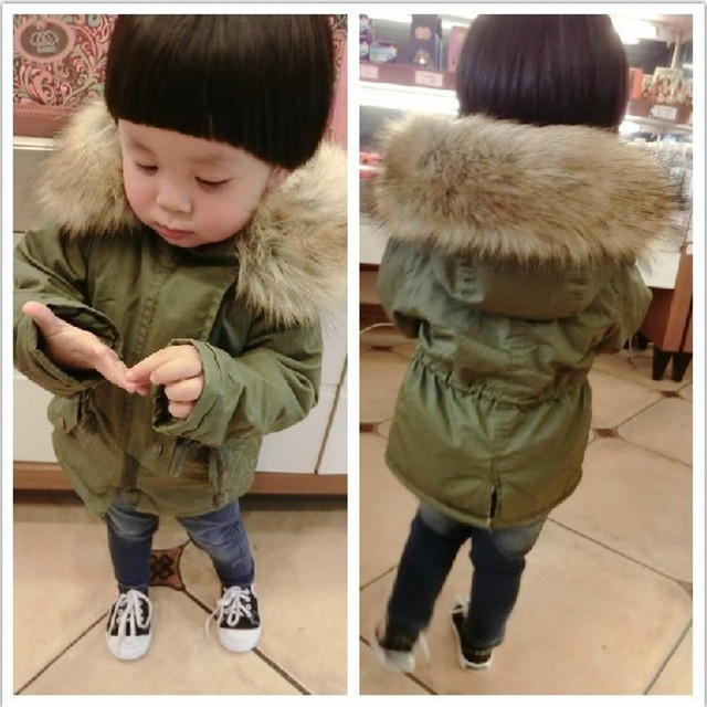 98ceb469d New Boys And Girls Winter Jacket Thickness Army green Parka Coat Doudoune  Enfant Boys Jacket 6WBT008
