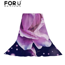 FORUDESIGNS Flower Printing Women's Scarves Ladies Light and Thin Slik Scarf for Females Bohemian Beach Towel Fresh Style Shawl stylish fresh style flower and leaf pattern chiffon scarf for women