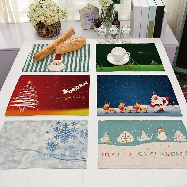 Christmas Pattern Placemat Cotton Linen Insulation Placemats Place Pad Dining Table Mats Home Kitchen Decoration 42