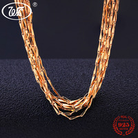 WK 1MM 5 10 20 50 100 PCS 925 Sterling Silver Golden Chain Necklace Women Chains