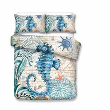 Three Dimensional hippocampus Printed Duvet Cover Sets Marine 3D Luxury Bed Linen USA Twin Queen King Size Double Bedding