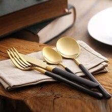 Lekock 18/10 edelstahl besteck 18 k gold besteck set polnischen besteck-set gabel messer löffel geschirr set für geschenk