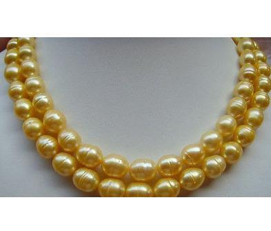Beautiful AAA 10-13MM South Sea Golden Baroque Pearl Necklace 35 INCH Jewelery