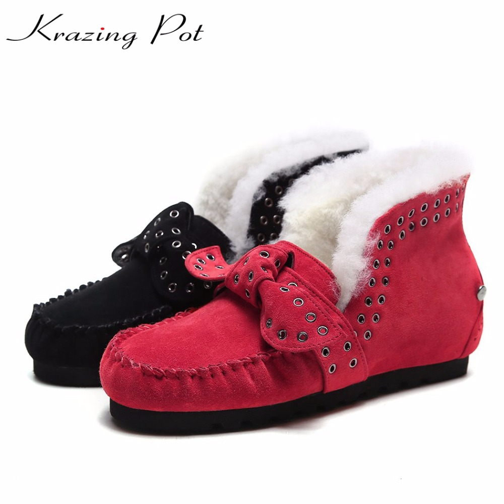 Krazing pot cow suede flat with sheep fur rivets decorations winter boots bowtie superstar keep warm plus size snow boots  L63 manitobah перчатки suede mitt with fur trim lg charcoal св серый