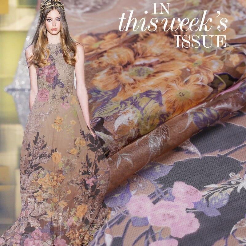The high-end grey 100% silk Jumpsuit skirt of silk chiffon fabric positioning fabric flowers