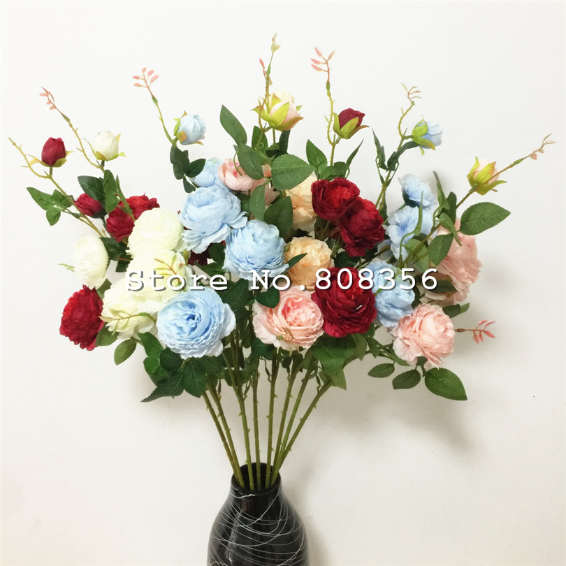 7pcs European Peony 5 Heads Simulation Peonia Roses Silk Flowers Pink Blue Cream Champagne Dark Red For Wedding Faux Flower Artificial Dried Flowers Aliexpress