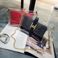 Summer Women Clear Purses Chains Clutch Handbags Lady's Shoulder Bag Envelope Beach Satchel Messenger Bags Bolsa PVC bag