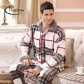 Thoshine 2017 Primavera Homens de Inverno de Espessura Coral Fleece Pijamas Quentes conjuntos de Sono Tops & Calças Masculina de Flanela Camisola Casa Sleepwear