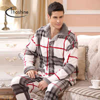 Thoshine Brand Winter Style Men Thick Coral Fleece Warm Pijamas sets of Sleep Tops & Trousers Male Flannel Nighty Home Sleepwear