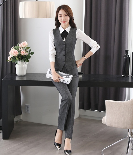 bd82e1de US $37.81 5% OFF|2 Piece Set Women Business Suits with Pant and Top Sets  Ladies Grey Vest & Waistcoat Office Uniform Designs Styles-in Pant Suits  from ...