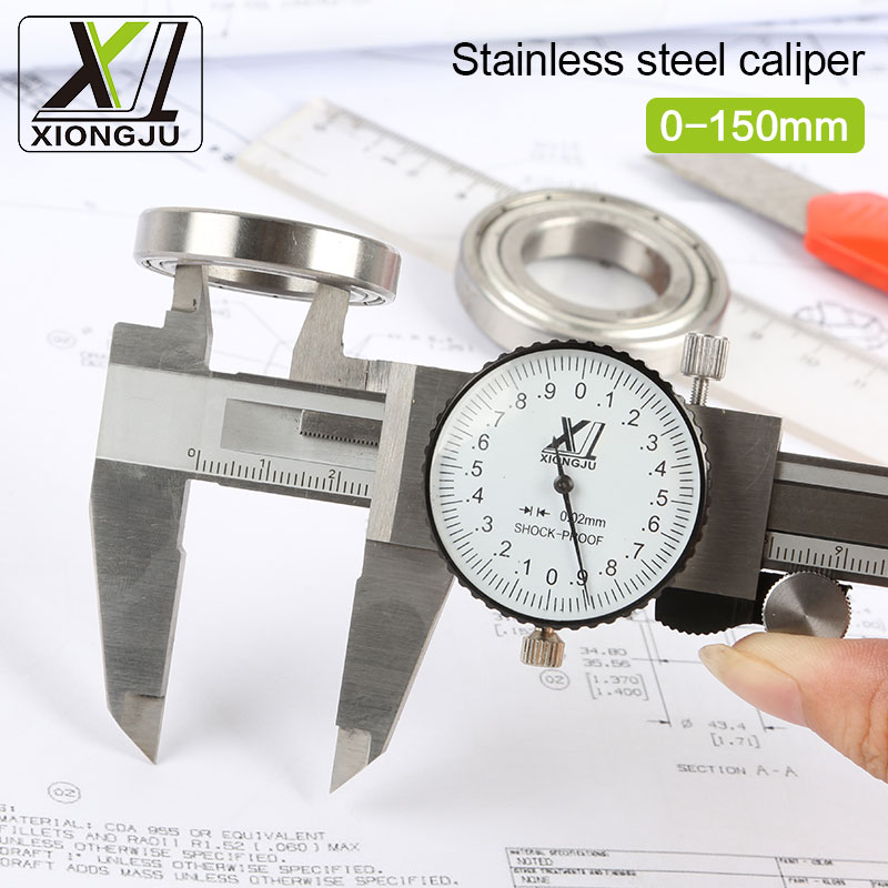 Free shipping Stainless steel Vernier Caliper Dial Caliper Dial Gauge Caliper 0.02 mm Double Shock proof 150 mm dial caliper 0 20 mm manual welding seam gauge weld inspection caliper gauges