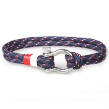 New Arrival Fashion Jewelry navy style Sport Camping Parachute cord Survival Bracelet Men with Stainless Steel Shackle Buckle цена