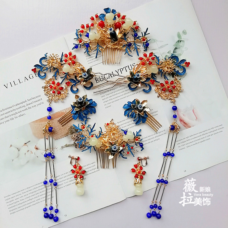 Coiffure de mariée style chinois cloisonné Phoenix ancienne épingle à cheveux secouer classique dragon Phoenix mariage accessoires hai'r