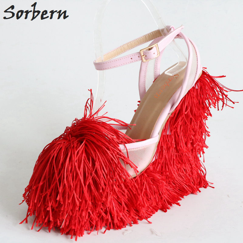 Sorbern Breathable Mesh Sandals Fringe High Heel Platform Sandals Women Ladies Shoes Size 45 Brands Womens Platform Sandals