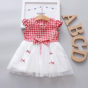 Летнее клетчатое платье для маленьких девочек, кружевное хлопковое платье принцессы, новые модные милые платья без рукавов для девочек 0-3 л...