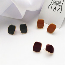 Simple bottom oil ear buckle square earring is contracted joker temperament easy individual character female