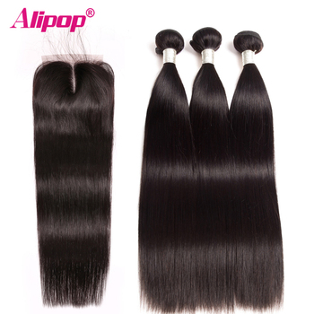 Remy Straight Hair Bundles With Closure Peruvian Hair Bundles With Closure Human Hair Bundles With Closure Alipop Hair Extension