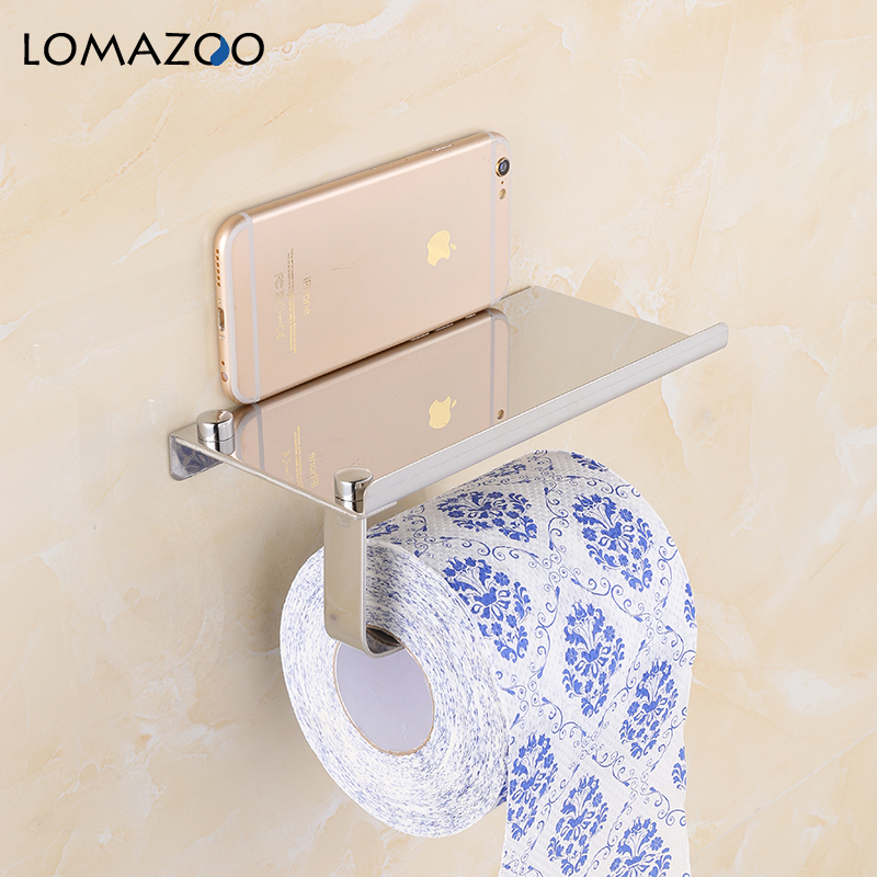 Concise Wall Mount Toilet Paper Holder Bathroom Accessories Silver Fixture Stainless Steel Roll Paper Holders with