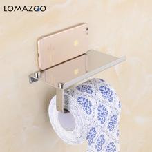 Краткий настенное крепление Туалет Бумага держатель Аксессуары для ванной комнаты Silver Светильник Нержавеющаясталь Roll Бумага держатели с телефона Полка