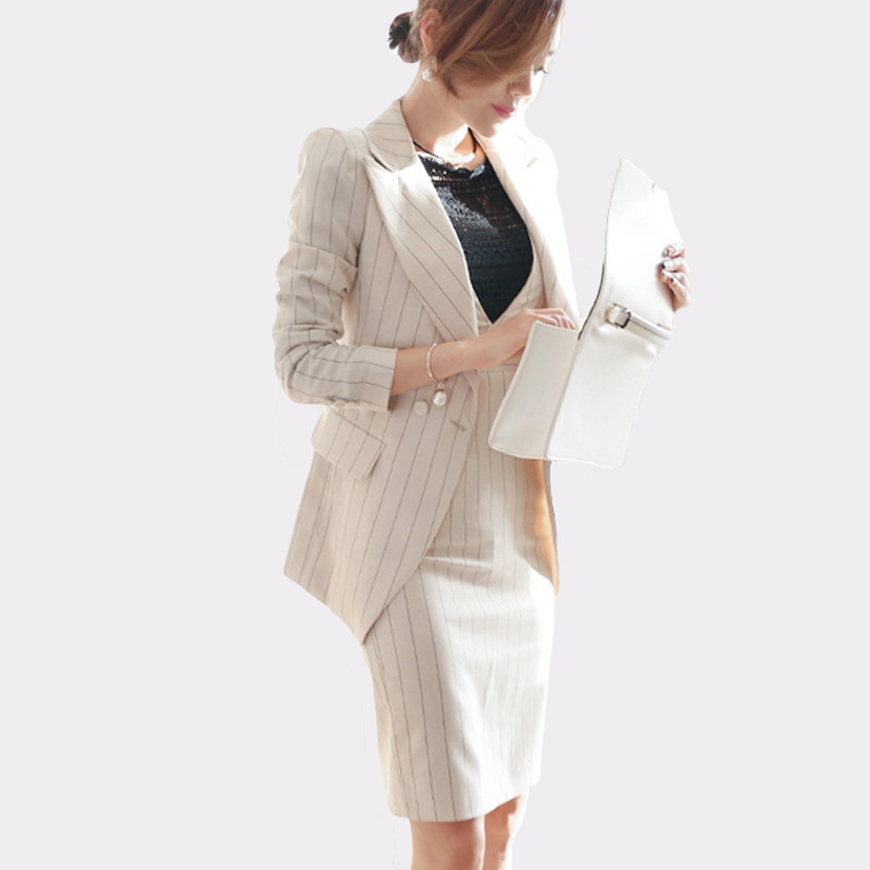 2018 Women Striped Office Lady Dress Suits 2 Two Piece Sets Elegant Notched Jacket Blazer + Fashion Sheath Dresses Femme