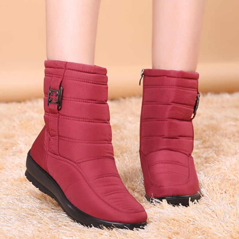 Botas al tobillo para mujer 2019 botas de Invierno para mujer botas de nieve de felpa cálidas para mujer zapatos de Madre de mediana edad botas de algodón impermeables de moda sólidas