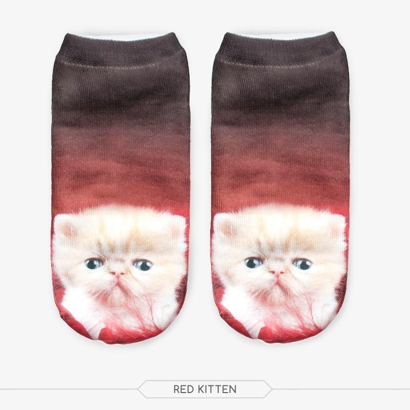 fashion 3D digital printing red kitten cat socks women female girl adult boat socks cute animal print socks