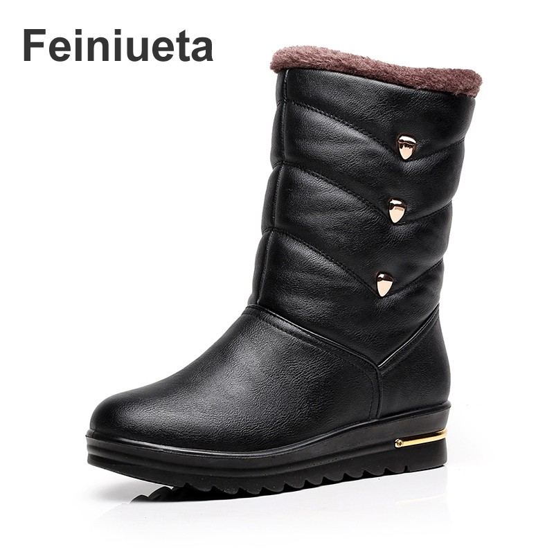 Feiniueta  winter snow boots women waterproof anti-skid plus cashmere thickening cotton boots warm women winter high boots martin winter boots for men and men s winter snow boots warm cashmere waist leather shoes in winter thickening