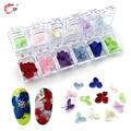 Murió Flores secas Nail Art Stickers Tips 12 Colores Manicura Decoración Del Clavo de DIY Arte
