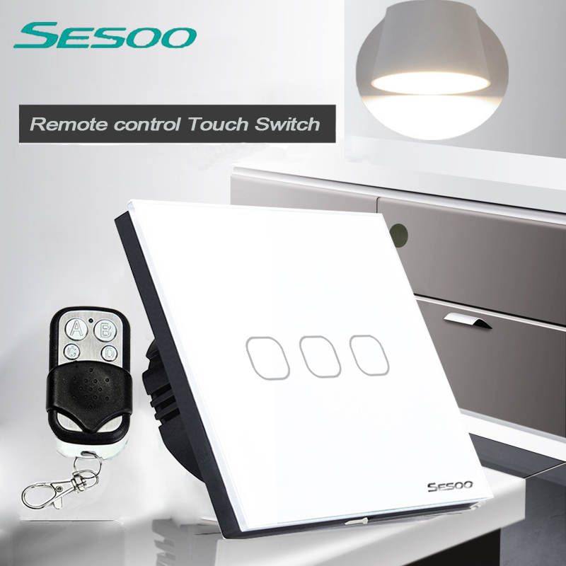EU/UK Standard SESOO  3 Gang 1 Way Remote Control Wall Touch Switch, Wireless Remote Control Light Switches for Smart Home eu uk standard sesoo remote control switch 3 gang 1 way wireless remote control wall touch switch crystal glass switch panel