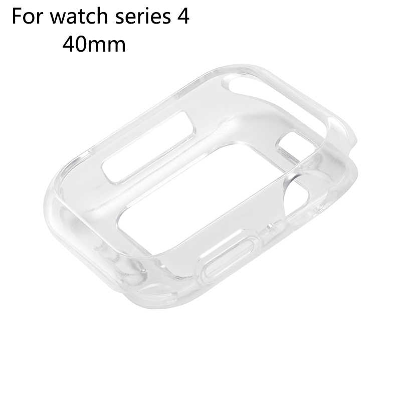 חצי coverd/הכל כלול שקוף פגז 40mm/44mm רך TPU מגן מקרה תואם עבור אפל שעון סדרת 4