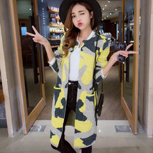 Women Long Sleeve Sweater Nice New Popular Autumn Winter Long Knitted Cardigan Camouflage Women's Trenches Outwear Coat A213