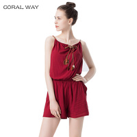 CORAL WAY Brand Women Jumpsuits Sexy Romper Overalls 2017 New Arrivals Summer Printed Combinaison Femme Bodysuit
