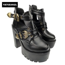 Women New Fashion Black Punk Gothic Buckle Strap Chunky Heel Shoes For Woman Hollow Out Platform Ankle Boots Shoes Black