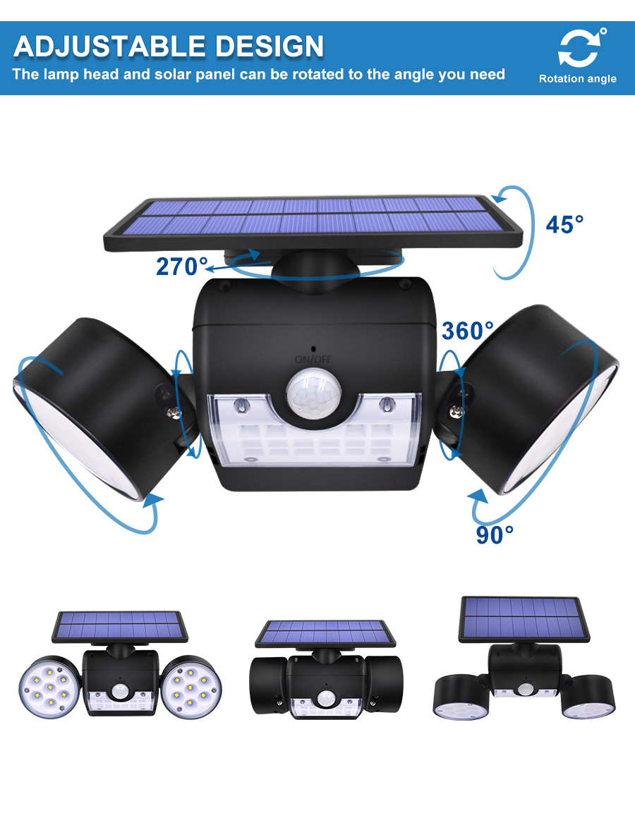 Dual Headed and Waterproof Solar Outdoor Light with 30 Adjustable Angled LED Lights for Garden and Street 7